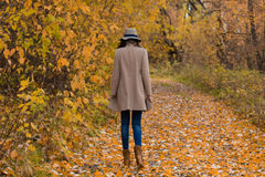 Lovely girl in the coat looks ahead Royalty Free Stock Photography