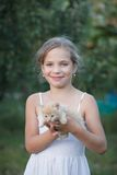 Lovely girl with cute kitten Royalty Free Stock Photography