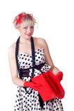 Lovely girl with an empty handbag Stock Photos