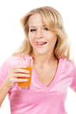 Lovely girl enjoying with a fresh juice Royalty Free Stock Photography