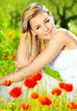 Lovely girl enjoying nature Stock Images