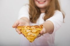 A lovely girl feel interest and happy with fastfood royalty free stock images