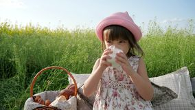 Lovely girl on flower meadow with basket for Picnic, female child in panama with bun on nature, Weekend at picnic stock video footage