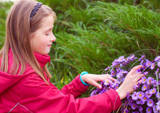 Lovely girl by the flowers picking up. Green and violet background stock images