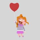 Lovely girl flying on heart balloon. 3D Stock Image