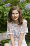 Lovely girl in garden Stock Photography