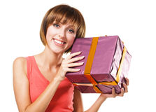 Lovely girl with a gift box Stock Photo