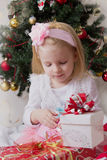 Lovely girl with gift box Stock Image