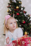 Lovely girl with gift box Stock Photo