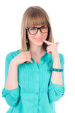 Lovely girl with glasses thinking Royalty Free Stock Photo