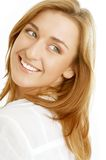 Lovely girl with green eyes looking over shoulder Stock Photos