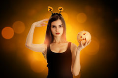 Lovely girl in halloween style clothes Royalty Free Stock Image