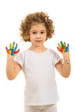 Lovely girl with hands painted Royalty Free Stock Images