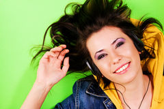 Lovely girl having fun with a music Stock Photo
