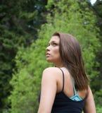 Lovely girl hiking stock image