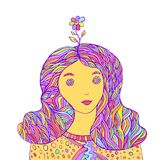 Lovely girl hipster with a flower on her head. Pastel color, vintage style.Isolated pattern. Cartoon character fantasy hippy girl.Funny doodle style.Vector Royalty Free Stock Photos
