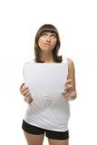 Lovely girl hold a sheet of paper. Lovely girl holding blank sign board over white Stock Photo