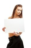 Lovely girl holding blank sign Stock Photos