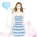 Lovely girl. The image with girl in the blue dress royalty free illustration