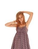 Lovely Girl In Burgundy Dress. Stock Photos