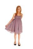 Lovely Girl In Burgundy Dress. Stock Photo