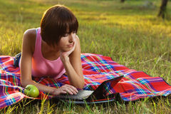 Lovely girl with laptop on picnic Royalty Free Stock Photo
