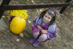 Lovely girl and large pumpkin Stock Photography