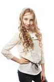 Lovely girl with long blond hair Stock Images