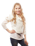 Lovely girl with long blond hair Royalty Free Stock Image