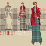 Lovely girl in long skirt.Options ensemble.Fashion Illustration Royalty Free Stock Photos