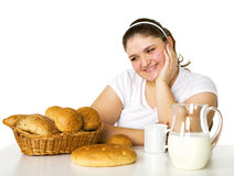 Lovely girl loving rolls Stock Photo