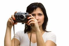Lovely girl with old rangefinder camera Royalty Free Stock Images