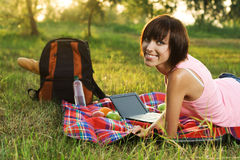 Lovely Girl On Picnic In The Park Royalty Free Stock Photo