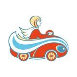 Lovely girl in the orange car. Stock Images