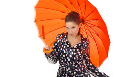 Lovely girl with orange umbrel Royalty Free Stock Images