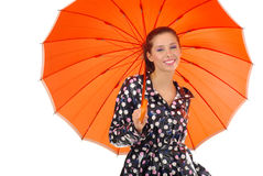 Lovely girl with orange umbrel Royalty Free Stock Photography