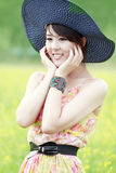 Lovely girl outdoor. Lovely Asian girl smiling outdoor Royalty Free Stock Photos