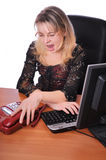 Lovely girl with phone in office tired of work Royalty Free Stock Photo