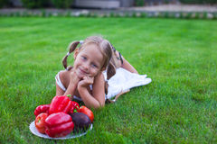 Lovely girl with pigtails in a garden with a plate Royalty Free Stock Photography