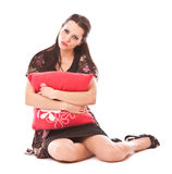 Lovely girl with pillow Royalty Free Stock Photography