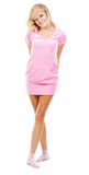 Lovely girl in a pink comfort clothing Royalty Free Stock Images