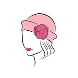 Lovely girl in a pink hat with  flower. Vector fashion sketch in hand drawing style for your design. EPS10 Stock Photography