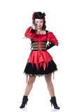 Lovely girl in pirate costume, isolated on white Royalty Free Stock Photos