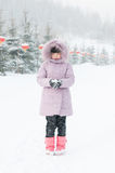 A lovely girl playing snow Stock Photography