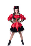 Lovely girl posing in pirate costume on Halloween Royalty Free Stock Photography