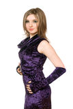 Lovely girl in a purple dress Stock Photos