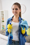 Lovely girl ready for cleaning Stock Photos