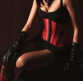 Lovely girl in red corset Stock Photos