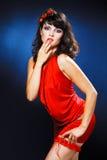 Lovely girl in red dress Stock Photo