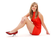 Lovely girl in red dress Royalty Free Stock Photo